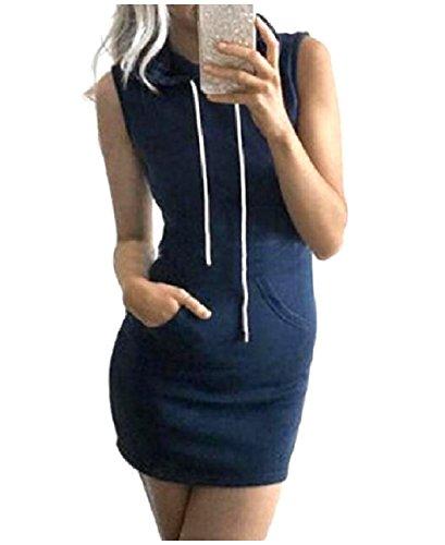 (YUSKYWomen Sleeveless Strip Fashionable Organic Cotton Hoodie Dress Dark Blue S)