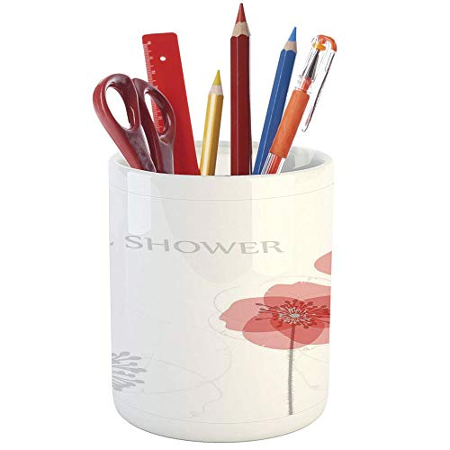 (Pencil Pen Holder,Bridal Shower Decorations,Printed Ceramic Pencil Pen Holder for Desk Office Accessory,Modern Poppy Flower Buds Abstract Shadow Design)
