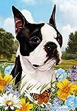 """Boston Terrier Dog – Tamara Burnett Summer Flowers House Dog Breed Flag 28"""" x 40"""""""