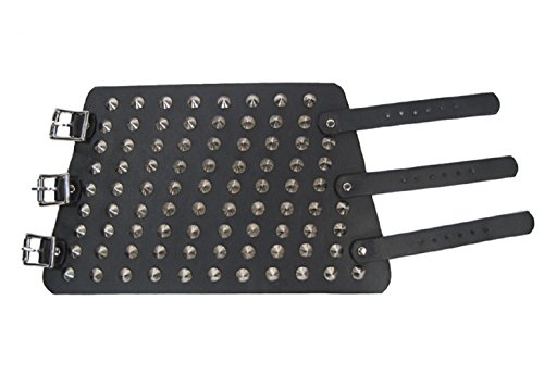 """9.5"""" Spike Studded Strap Leather Wristband Costume Accessory (Black)"""