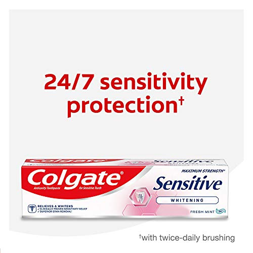 Colgate Whitening Toothpaste for Sensitive Teeth, Enamel Repair and Cavity Protection, Fresh Mint Gel, 6 Oz, Pack of 3