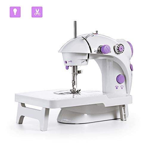 xhlife Mini Sewing Machine with Extension Table Portable Adjustable 2-Speed Crafting Mending Machine with Foot Pedal Upgrade Version for Household Kids Beginners Travel Use
