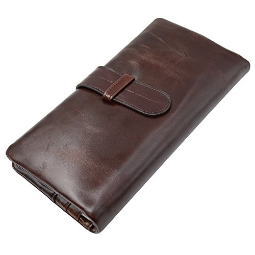 Mens Genuine Leather long bifold wallet Vintage style Money Purse