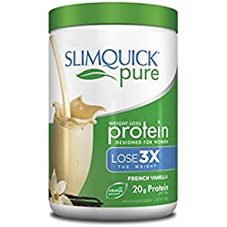 Slimquick Pure Protein Powder, low calorie dietary supplement, Vanilla, 300 Gram, Lose 3x the weight (Packaging may vary)