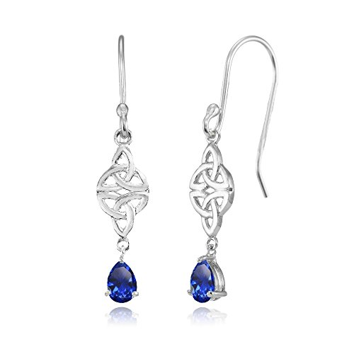 - Sterling Silver Created Blue Sapphire Celtic Trinity Knot Teardrop Dangle Drop Earrings