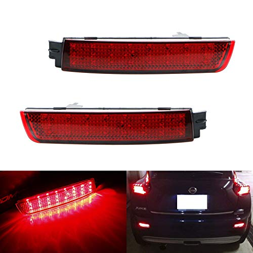 iJDMTOY Red Lens 48-SMD LED Bumper Reflector Lights For Infiniti FX35 FX50 QX70 Nissan Juke Murano Sentra etc. Function as Tail, Brake & Rear Fog Lamps