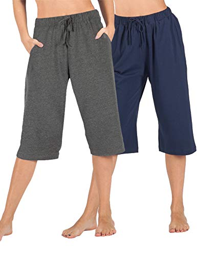 WEWINK CUKOO 100% Cotton Women Pajama Capri Pants Lounge Pants with Pockets Sleepwear (Blue + Granite Gray, M=US 8-10)