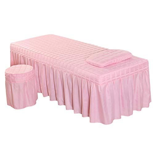 Massage Hotel Face Table Linen Set Bed Skirt Valance Sheet with Face Breath Hole Pillow Case Stool Cover for Beauty Salon Tattoo – Jade Pink-L
