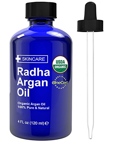 Radha Beauty Moroccan Argan Oil for Hair, Face & Skin 4 oz - USDA Organic 100% Pure Cold pressed Virgin Oil From Morocco - By Radha Beauty