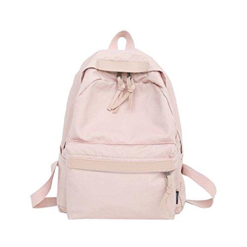kaoling Mochila de lona de las mujeres Mochila de ocio de las muchachas adolescentes Bolso de escuela femenina elegante de la vendimia Bolso de escuela Pink