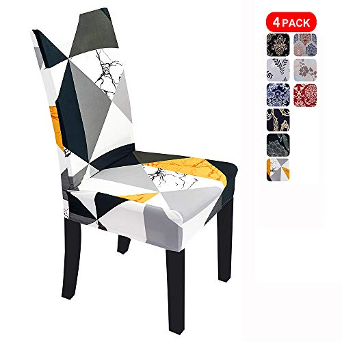 Stretch Dining Chair Covers, Minimalism Pattern Dining Chair Slipcover, Removable Washable Spandex Furniture Chair Protect Cover for Kitchen Hotel Table Banquet (4 Per Set, JYF)