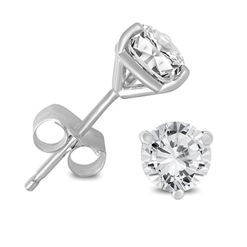 1/4 Carat TW AGS Certified Martini Set Round Diamond Solitaire Earrings in 14K White Gold