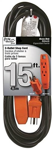 Rocky Mountain Goods 3 Prong 3 Outlet Industrial Extension Cord - 15 feet - Heavy duty flexible power cable - Hook for hanging - Safety flame retardant design