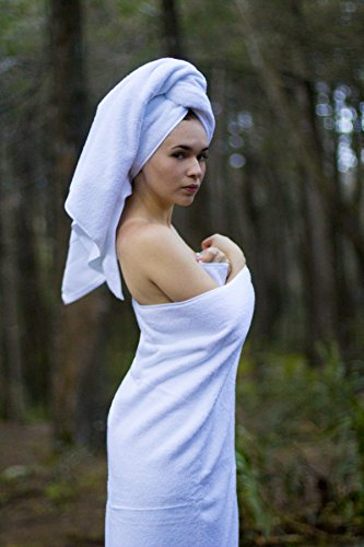 Luxury Hotel & Spa set of 6-piece Towels, 750GSM,100% Long Staple Combed Cotton. Premium set of 2 bath towels, 2 hand towels, 2 washcloths, Color (White) by Mandalay Brands (Image #4)