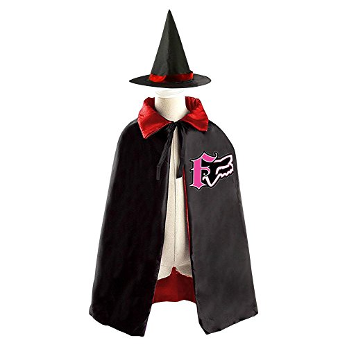 F1 Racing Girl Costume (FOX RACING Logo Kids Halloween Party Costume Cloak Wizard Witch Cape With Hat)