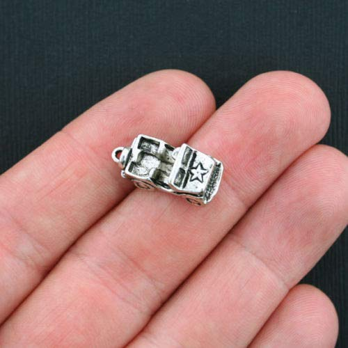 Unique Designer Jewelry 4 Army Jeep Charms Antique Silver Tone 3D - SC3462 F for Your Pendants, Earrings, Zipper pulls, Key Chains