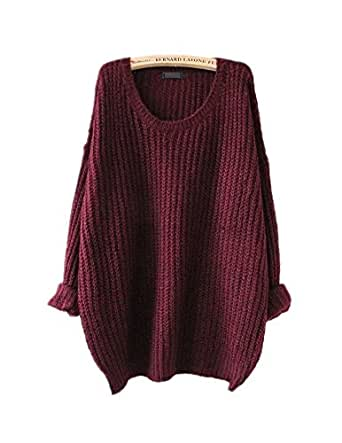 ARJOSA Women's Cable Knit Oversized Crewneck Casual Pullovers Sweaters Tops (M / L, #1 Wine Red)