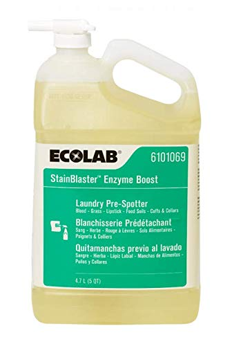 ECOLAB 6101069 StainBlaster Enzyme Boost 4.7 Liter (5 Quart) - Laundry Pre-Spotter for Blood Grass Lipstick Food Soils & Cuffs or Collars - One (1) Resealable Jug per Order by Ecolab