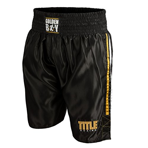 Golden Boy Pro Style Boxing Trunks, Black/Gold/White, Medium