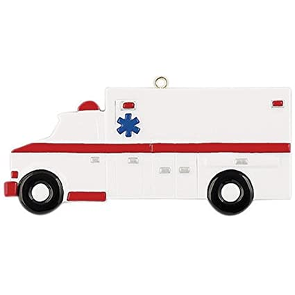 Ornaments by Elves Personalized Ambulance Christmas Ornament for Tree 2018  - Vehicle with Driver Way to Hospital - Crew Injured Coworker New Job