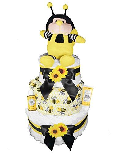 Bee 3-Tier Diaper Cake for a Boy or Girl - Baby Shower Centerpiece/Gender Neutral/Gender (3 Tier Diaper Cake)