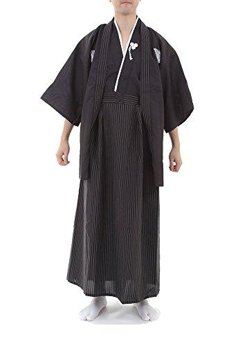TOKYO-T Mens Japanese Kimono Costumes Samurai Bushi Formal with Tabi Socks (L)
