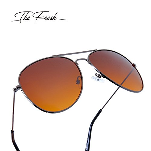 The Fresh HD High Definition Vision Driving Golf Classic Large Metal Frame Blue Blocker Lens Aviator Sunglasses with Gift Box by The Fresh (Image #3)