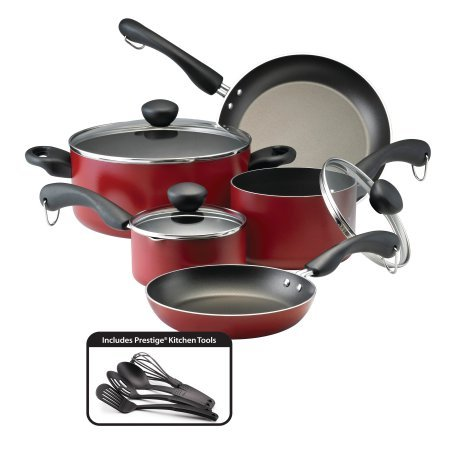 Farberware Easy Clean Dishwasher Safe Aluminum Nonstick 12-Piece Cookware Set,Red