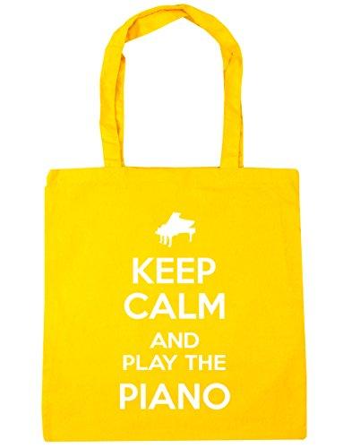 HippoWarehouse Keep Calm and Play the Piano (Mantén la calma y Toca el Piano) Bolso de Playa Bolsa Compra Con Asas para gimnasio 42cm x 38cm 10 litros capacidad Amarillo