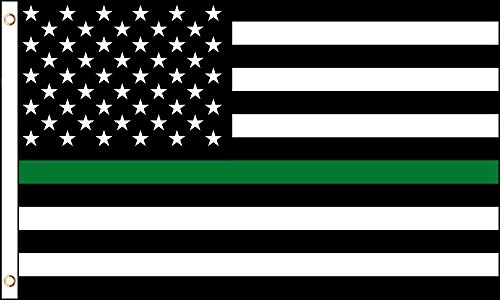 Yellow Dog 3' x 5' Subdued American Thin Green Line Flag wit