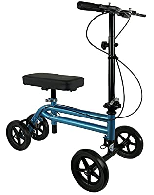 NEW KneeRover Economy Knee Scooter Steerable Knee Walker Crutch Alternative with DUAL BRAKING SYSTEM in Metallic Blue