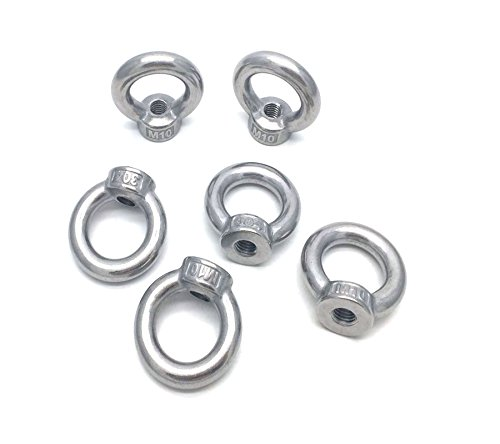 Antrader M10 304 Stainless Steel Ring Shape Lifting Eye Threaded Nut Pack of 6pcs