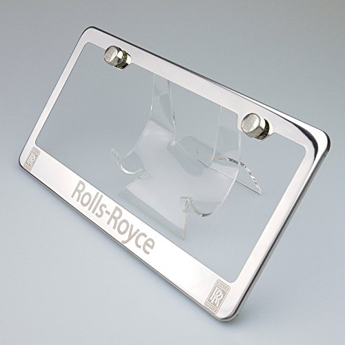 100% Stainless Steel Rolls Royce Laser Engrave Chrome Mirror Polish License Plate Frame Holder with Logo Steel Screw Caps