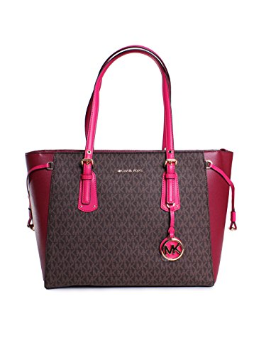 Michael Kors Voyager Leather Medium Monogram Printed Multifunction Tote Handbag in Brown - Pink Michael Kors