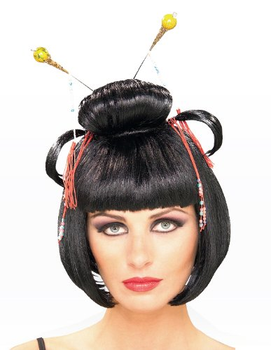 Geisha Wig Adult (Rubie's Costume Asian Lady Wig, Black, One Size)