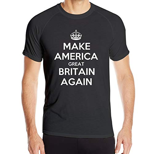 Make America Great Britain Again Men¡¯s Dry-Fit Moisture Wicking Active Athletic Performance Crew T-Shirt Black -