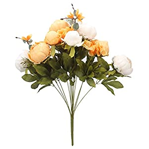 Duovlo Artificial Peony Silk Flowers Fake Flowers Vintage Wedding Home Decoration,Pack of 1 (New Orange) 3