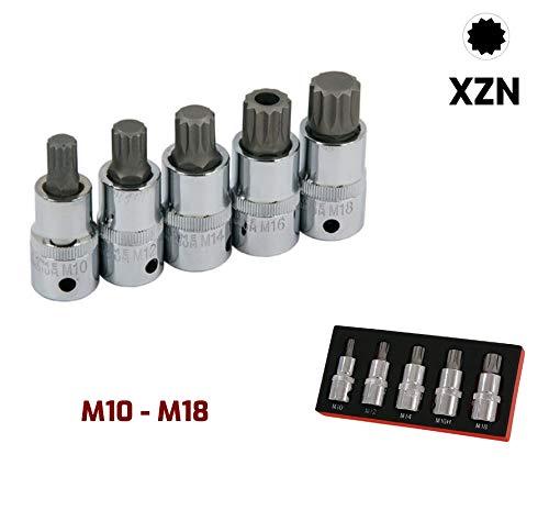 Ensemble de douilles XZN 12 pans M10 M12 M14 M16 et M18 avec la douille M16 perc/ée