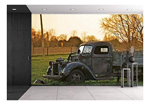 (wall26 - Rustic Old Pickup Truck on The Backyard. Abandoned Old Truck - Removable Wall Mural | Self-Adhesive Large Wallpaper - 100x144 inches )