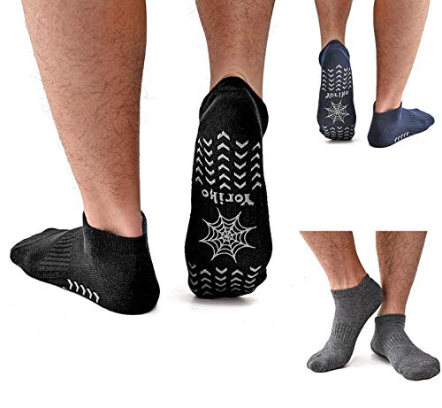 3 Pack Men's Non Slip Yoga Socks, Anti-Skid Pilates, Barre, Bikram Fitness Hospital Slipper Socks with Grips