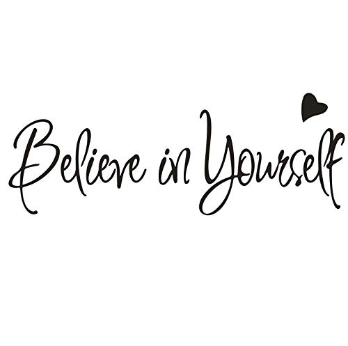 - Removable Inspirational Vinyl Wall Quotes Stickers Believe in Yourself Wall Decal Art Vinyl Lettering Study Room Bedroom Wall Sticker Mural A-188 (Black)