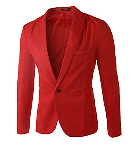 CELINO Men's Fashion One Button Fitted Business Blazer, Red XX-Large (Tweed Fitted Blazer)