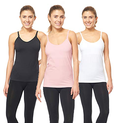 567339d729 Maternity Nursing Cami Tank Tops for Breastfeeding 3 Pack - White ...