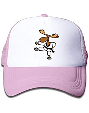 Moose Doing Karate On Boys and Girls Trucker Hat, Youth Toddler Mesh Hats Baseball Cap