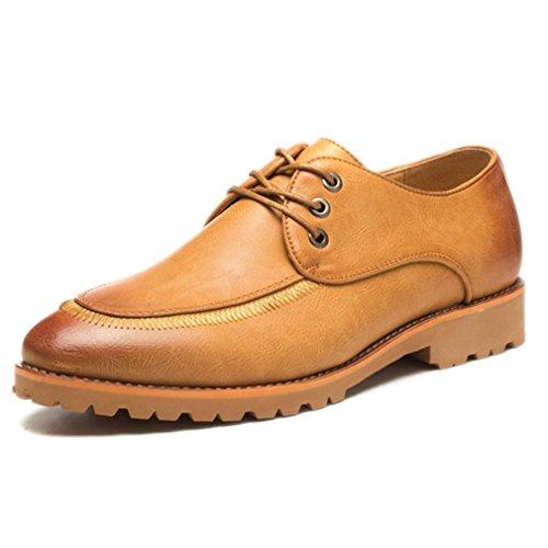 Xianshu Herren Geschäft Beiläufig Schuhe Spitz Zehe Schnüren Schuhe Braun