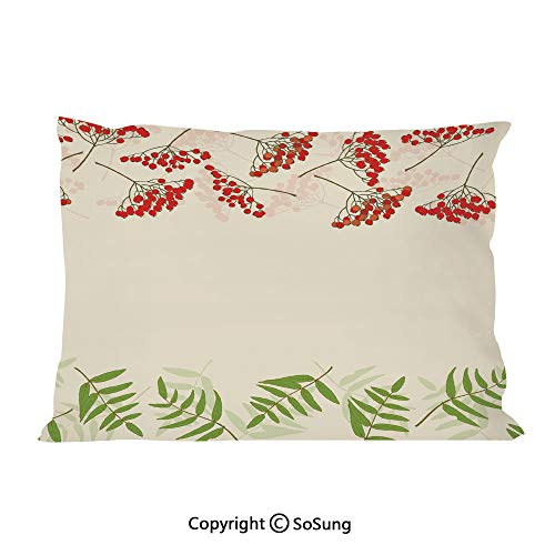 Rowan Bed Pillow Case/Shams Set of 2,Graphic Border Design Berries Mountain Ashes Botanical Nature Themed Decorative King Size Without Insert (2 Pack Pillowcase 36