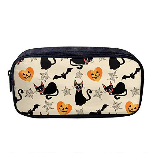 Custom Printing Pattern Oxford Cloth Student Pen Bag Pencil Case Makeup Tool Bag Storage Pouch Purse Makeup Bag (Halloween Bats and Cats) -
