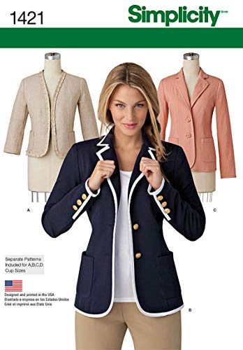 - Simplicity 1421 Women's Unlined Collared Jacket Sewing Patterns, Sizes 6-14
