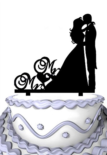 (Meijiafei Kissing Couple Silhouette Acrylic Mr and Mrs Romantic Heart Cake Topper)