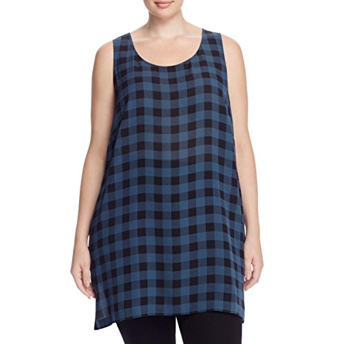 Eileen Fisher Fir Buffalo Check Printed Silk Scoop Neck Tunic Plus Size (2X)